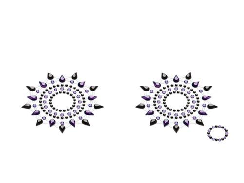 Petits JouJoux Gloria breast jewelry (set of 2), black/purple