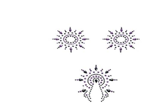 Petits JouJoux Gloria breast and pubic jewelry (set of 3), black/purple